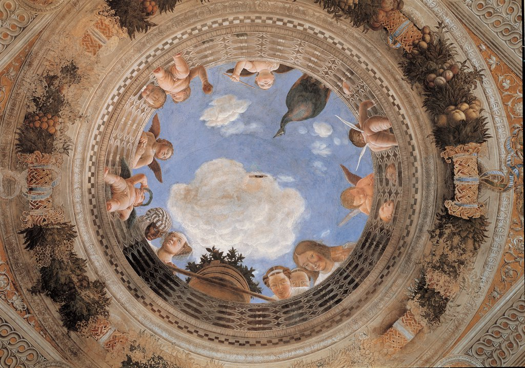 Decoration of the Camera degli Sposi (Camera Picta), by Mantegna Andrea, 1465 - 1474, 15th Century, fresco and dry tempera. Italy: Lombardy: Mantua: Ducal Palace. Vault. The open oculus on a cloudy sky ringed with female figures and flying putti looking down. The oculus has frames and a ringed railing holding an unstable tub with a citrus shrub. Peacock light blue/azure cloud moth : Stock Photo