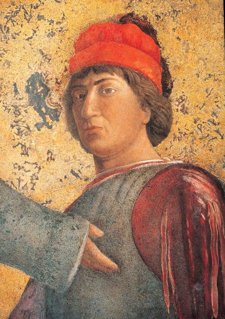 Decoration of the Camera degli Sposi (Camera Picta), by Mantegna Andrea, 1465 - 1474, 15th Century, fresco and dry tempera. Italy. Lombardy. Mantua. Ducal Palace. North wall or the chimney wall. The Court. Detail of a dignitary wearing clothes with the Gonzaga heraldic colors, climbing the ladder on the right red gold : Stock Photo