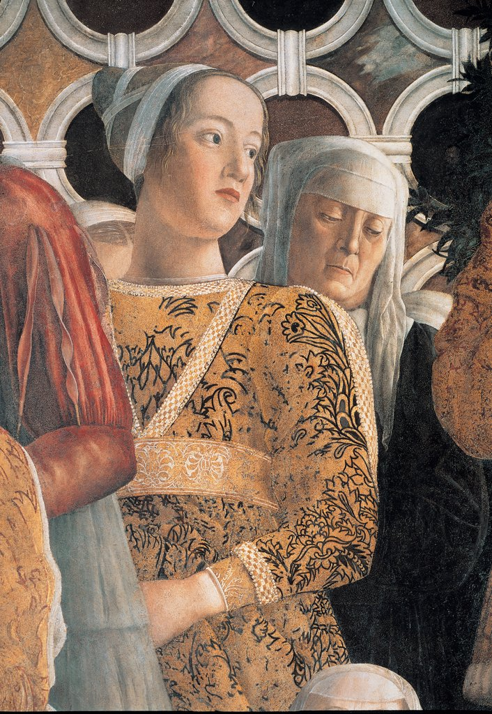 Decoration of the Camera degli Sposi (Camera Picta), by Mantegna Andrea, 1465 - 1474, 15th Century, fresco and dry tempera. Italy. Lombardy. Mantua. Ducal Palace. North wall or the chimney wall. The Court. Detail of Barbara, the Marquis Gonzaga's daughter, with the wet-nurse gold white red veil : Stock Photo