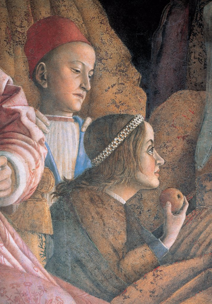 Decoration of the Camera degli Sposi (Camera Picta), by Mantegna Andrea, 1465 - 1474, 15th Century, fresco and dry tempera. Italy. Lombardy. Mantua. Ducal Palace. North wall or the chimney wall. The Court. Detail of the children of Marquis Gonzaga, Ludovico and Paola biting an apple : Stock Photo