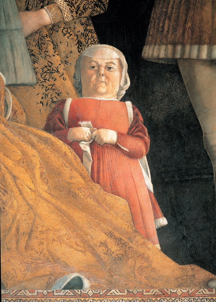 Decoration of the Camera degli Sposi (Camera Picta), by Mantegna Andrea, 1465 - 1474, 15th Century, fresco and dry tempera. Italy. Lombardy. Mantua. Ducal Palace. North wall or the chimney wall. The Court. Detail of the dwarf : Stock Photo
