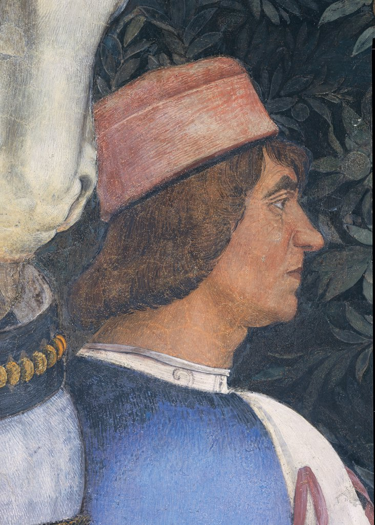 Decoration of the Camera degli Sposi (Camera Picta), by Mantegna Andrea, 1465 - 1474, 15th Century, fresco and dry tempera. Italy. Lombardy. Mantua. Ducal Palace. West wall. The meeting between Ludovico Gonzaga and his sons, Francesco and Federico. Left episode. Detail of face of the servant next to the horse red blue head gear/headdress : Stock Photo