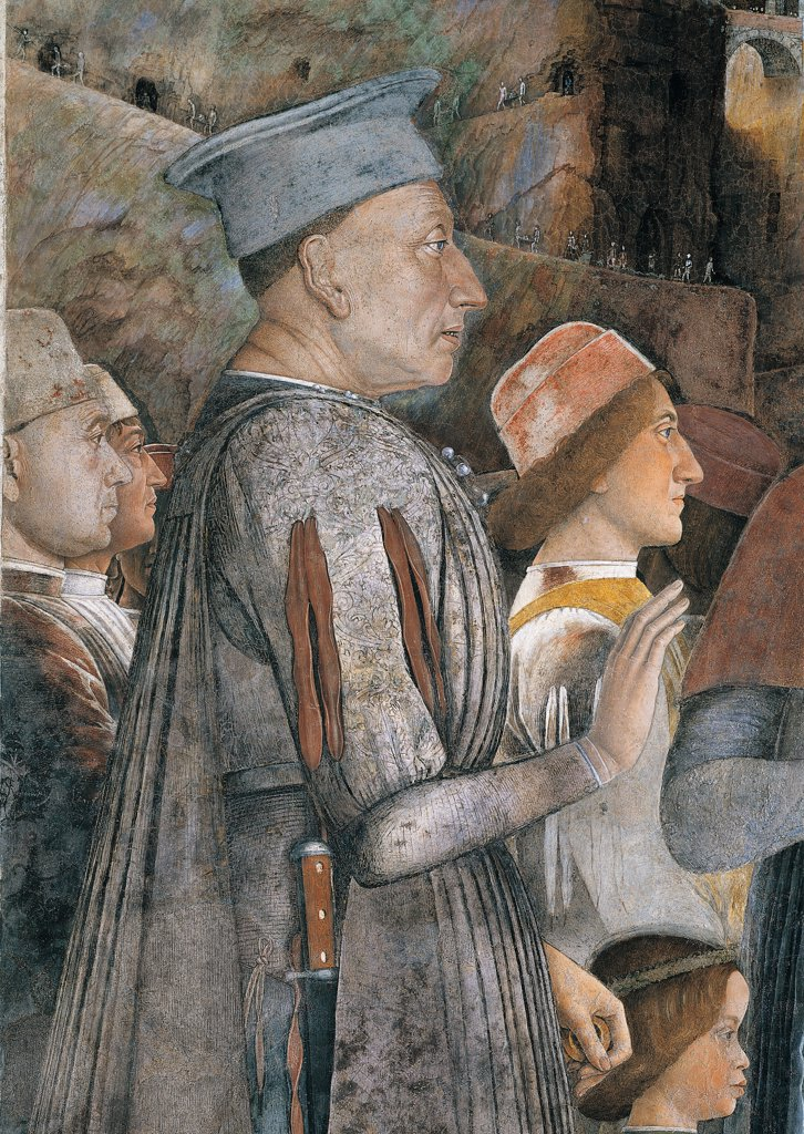 Stock Photo: 1899-34014 Decoration of the Camera degli Sposi (Camera Picta), by Mantegna Andrea, 1465 - 1474, 15th Century, fresco and dry tempera. Italy. Lombardy. Mantua. Ducal Palace. West wall. The meeting between Ludovico Gonzaga and his sons, Francesco and Federico. Right Episode. Detail of profile of the Marquis Ludovico III with war dresses/robes/garments gray