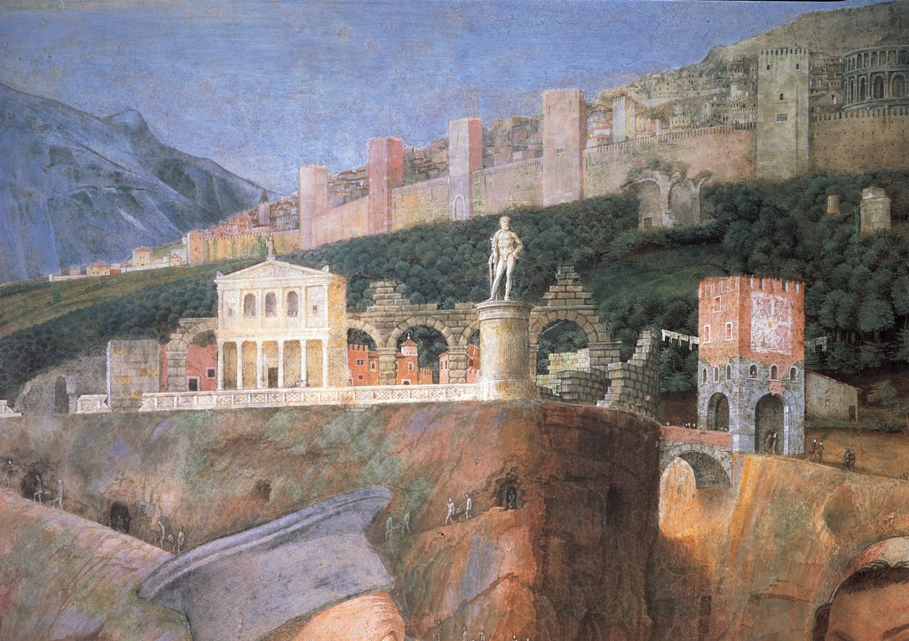 Stock Photo: 1899-34015 Decoration of the Camera degli Sposi (Camera Picta), by Mantegna Andrea, 1465 - 1474, 15th Century, fresco and dry tempera. Italy. Lombardy. Mantua. Ducal Palace. West wall. The meeting between Ludovico Gonzaga and his sons, Francesco and Federico. Right Episode. Detail of the ideal city light blue/azure