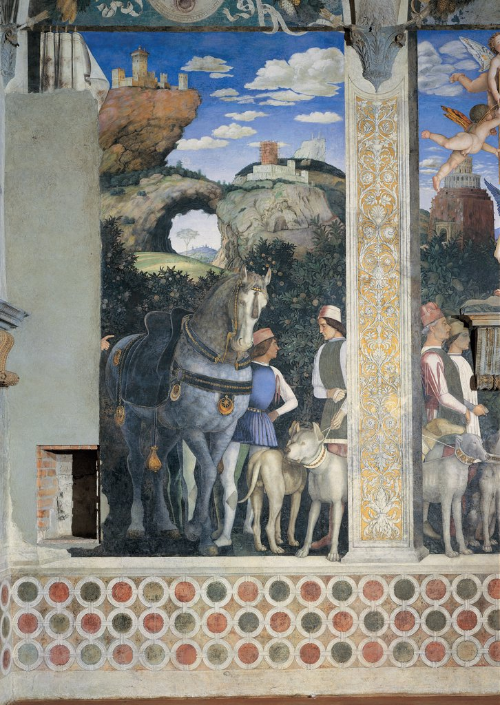 Stock Photo: 1899-34017 Decoration of the Camera degli Sposi (Camera Picta), by Mantegna Andrea, 1465 - 1474, 15th Century, fresco and dry tempera. Italy. Lombardy. Mantua. Ducal Palace. West wall. The meeting between Ludovico Gonzaga and his sons, Francesco and Federico. Left and central episodes. Detail of servants with horse and dogs and the two servants of the central panel