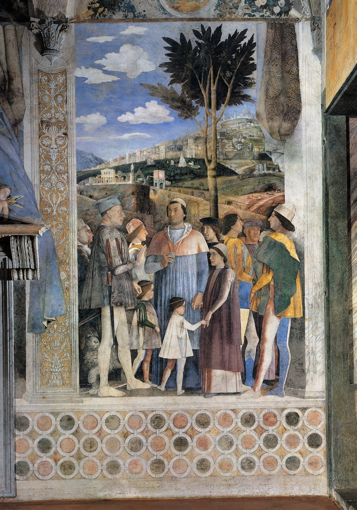 Decoration of the Camera degli Sposi (Camera Picta), by Mantegna Andrea, 1465 - 1474, 15th Century, fresco and dry tempera. Italy. Lombardy. Mantua. Ducal Palace. West wall. The meeting between Ludovico Gonzaga and his sons, Francesco and Federico. Right episode. Whole artwork. Ludovico with his sons and other characters of perhaps the Emperor Frederick III and King Christian of Denmark. Before and after the restoration : Stock Photo