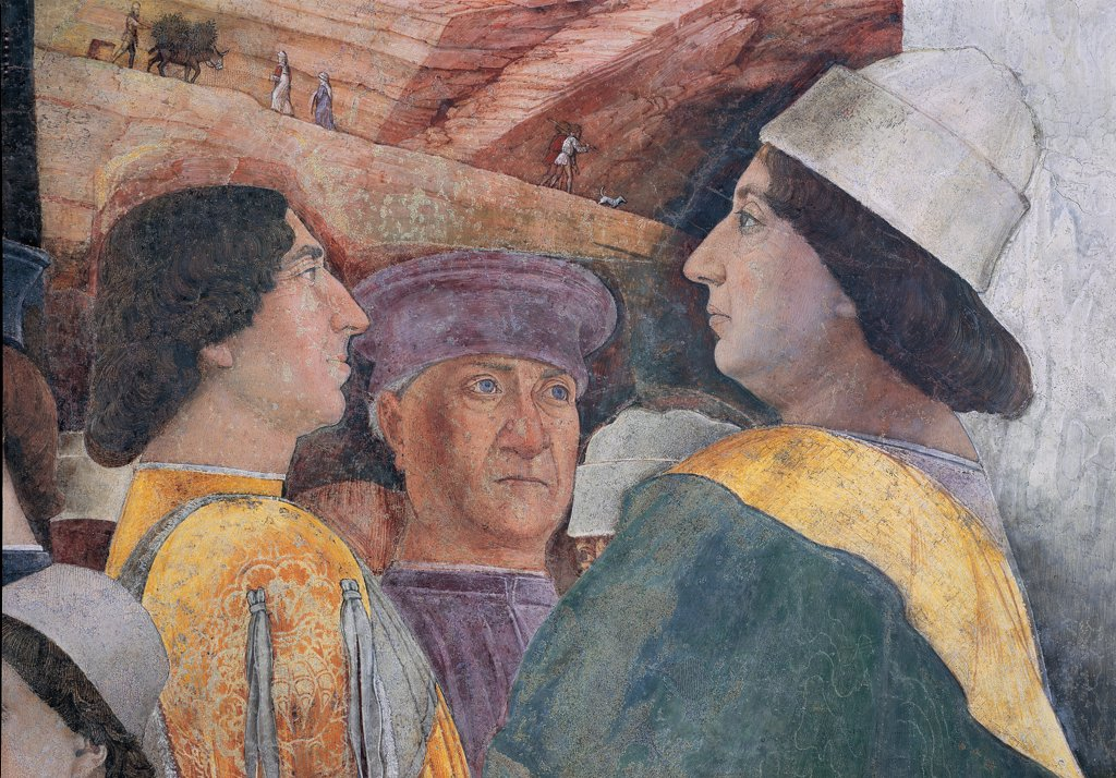 Decoration of the Camera degli Sposi (Camera Picta), by Mantegna Andrea, 1465 - 1474, 15th Century, fresco and dry tempera. Italy: Lombardy: Mantua: Ducal Palace. West wall. The meeting between Ludovico Gonzaga and his children, Francesco and Federico. Right episode. Detail. The faces of the Emperor Frederick III and Federico I Gonzaga brown yellow green : Stock Photo