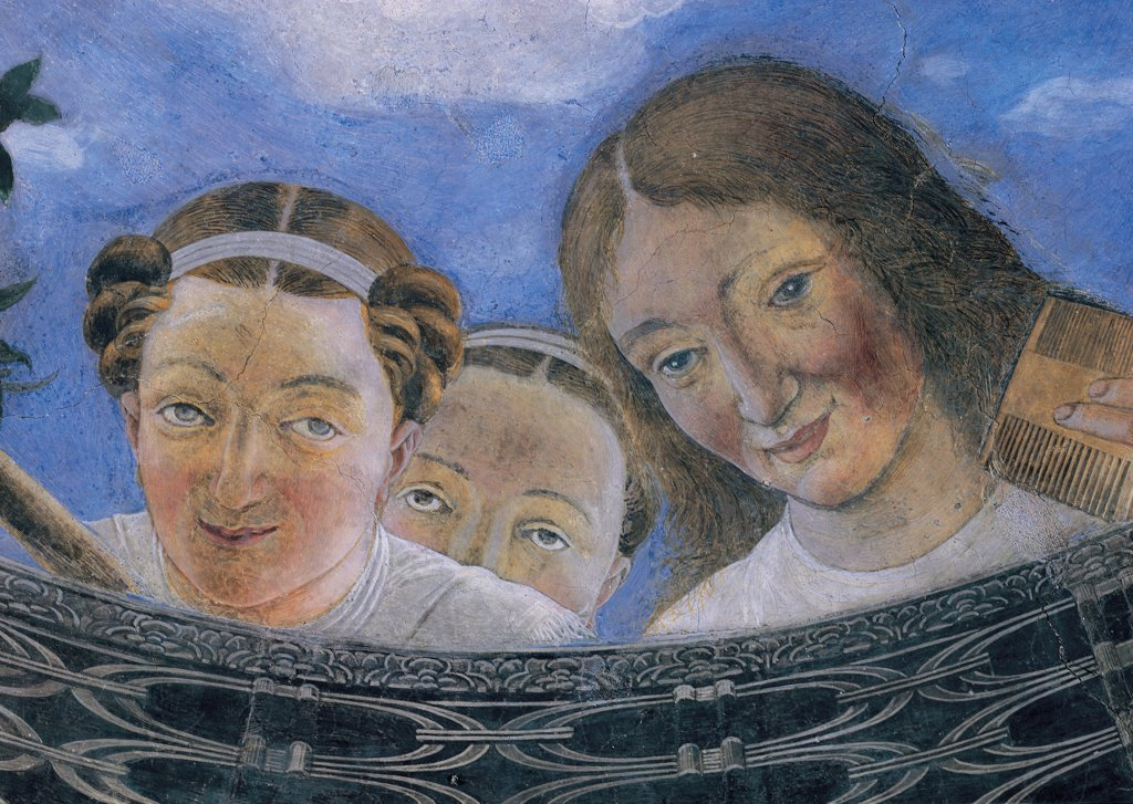Decoration of the Camera degli Sposi (Camera Picta), by Mantegna Andrea, 1465 - 1474, 15th Century, fresco and dry tempera. Italy: Lombardy: Mantua: Ducal Palace. Vault. The oculus. Detail. Faces of three women bare-headed light blue/azure : Stock Photo