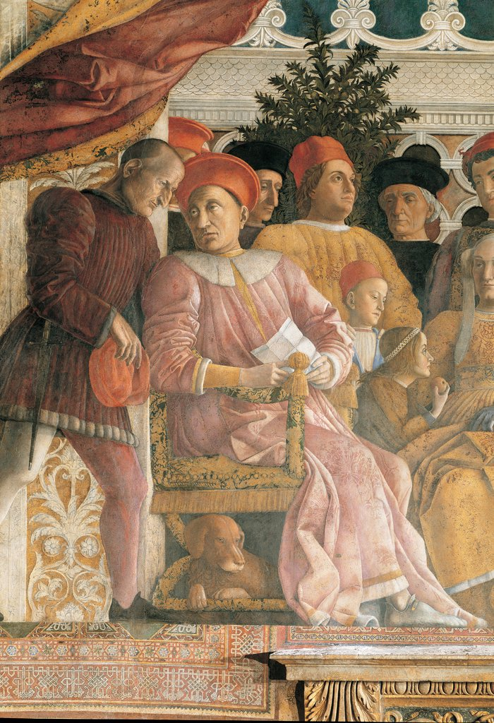 Decoration of the Camera degli Sposi (Camera Picta), by Mantegna Andrea, 1465 - 1474, 15th Century, fresco and dry tempera. Italy. Lombardy. Mantua. Ducal Palace. North wall or the chimney wall. The Court. Detail of the Marquis Ludovico III Gonzaga, his secretary and his children Gianfrancesco, Ludovico and Paola. Under the armchair the dog Rubino : Stock Photo