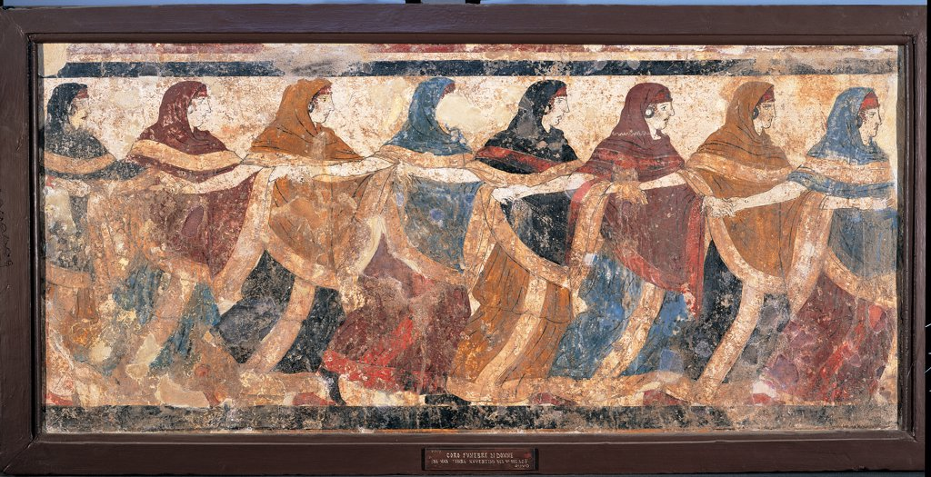 Tomb 11, tomb in a semicircle, Ruvo, by Unknown artist, 4th Century, mural. Italy: Campania: Naples: National Archaeological Museum: inv. 9353. Tomb 11, tomb in a semicircle, Ruvo - Funeral rite. Detail of a choir women who dance and sing in a funeral procession : Stock Photo