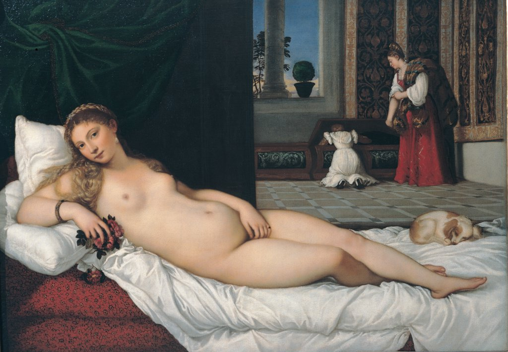 Venus of Urbino, by Vecellio Tiziano known as Titian, 1538, 16th Century, oil on canvas. Italy: Tuscany: Florence. Whole artwork. Naked young woman rose woman lying lascivious pose long hair roses dog room window bed couch bedclothes cushions white red curtain black : Stock Photo