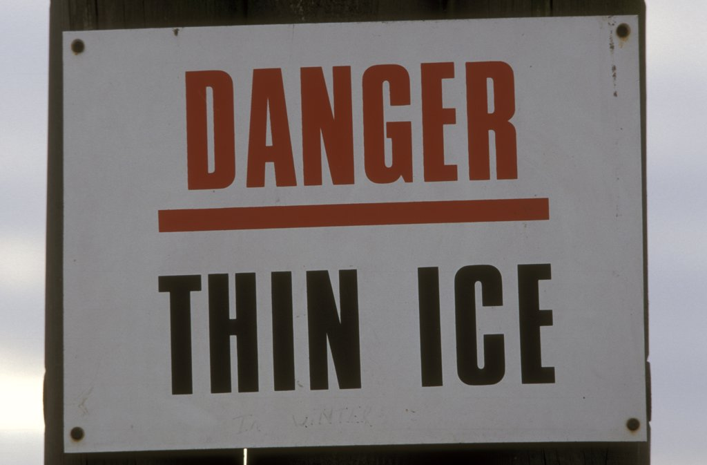 Danger thin ice warning sign UK.  : Stock Photo