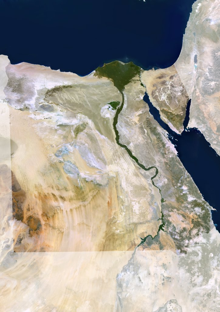 Stock Photo: 1899-34633 Egypt, True Colour Satellite Image With Mask. Egypt, true colour satellite image with mask. North is at top. In the center of the image is the Nile Delta, its lush vegetation following the path of the river. To the east of the Nile is the Gulf of Suez, which runs down the western side of the Sinai Peninsula. This image was compiled from data acquired by LANDSAT 5 & 7 satellites.
