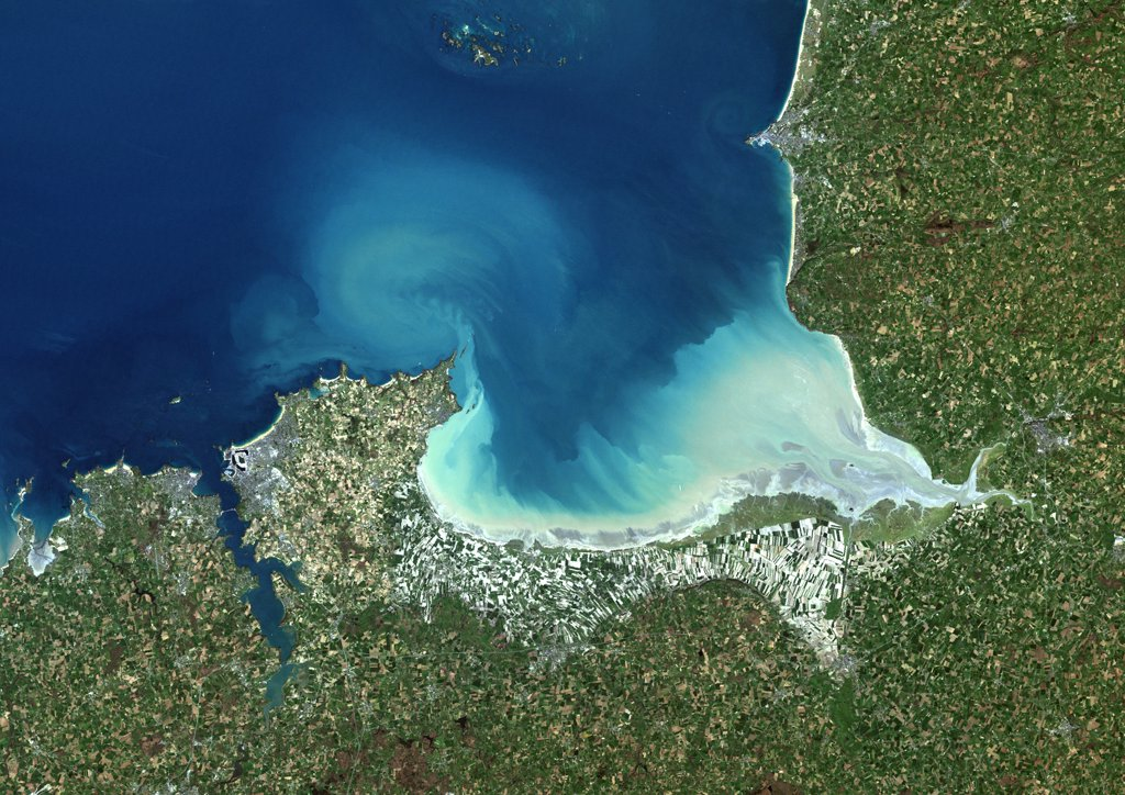 Stock Photo: 1899-34696 Mount Saint Michael Bay, France, True Colour Satellite Image. Mount Saint Michael (Mont Saint Michel) Bay, France. True colour satellite image of Mount Saint Michael, a small rocky tidal island in Normandy, France. This image was compiled from data acquired by LANDSAT 5 & 7 satellites.