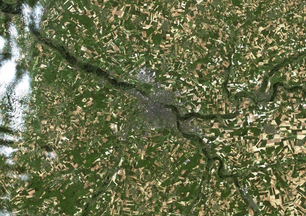 Amiens, France, True Colour Satellite Image. Amiens, France. True colour satellite image of Amiens, taken on 23 May 2001 using LANDSAT 7 data. : Stock Photo