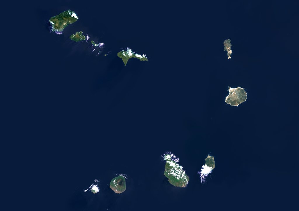 Fogo Island, Cape Verde, True Colour Satellite Image. Satellite image of Fogo Island, Cape Verde. Fogo is a volcanic island in Cape Verde. It is rising to 2829m above sea level at Mount Fogo. Image taken on 20 September 1999 using LANDSAT data. : Stock Photo