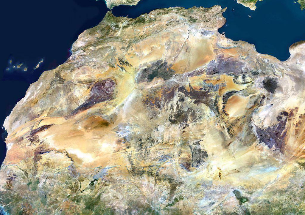 Sahara Desert, Africa, True Colour Satellite Image. Sahara desert, true colour satellite image. The Sahara is the world's largest hot desert, made of sand and volcanic mountains. Composite image using data from LANDSAT 5 & 7 satellites. : Stock Photo