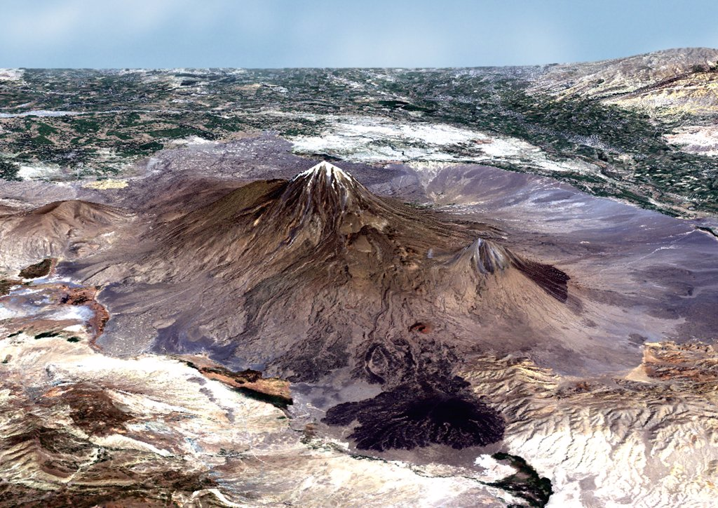 Volcano Ararat In 3D, Turkey, True Colour Satellite Image. 3D true colour satellite picture of the Volcano Ararat, a major volcano located on the Eastern part of Turkey, close to the border with Iran and Armenia. Image using LANDSAT data. : Stock Photo