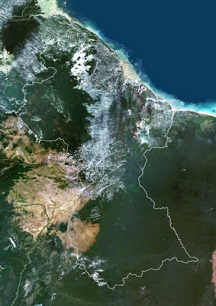 Guyana, South America, True Colour Satellite Image With Border. Satellite view of Guyana (with border). This image was compiled from data acquired by LANDSAT 5 & 7 satellites. : Stock Photo