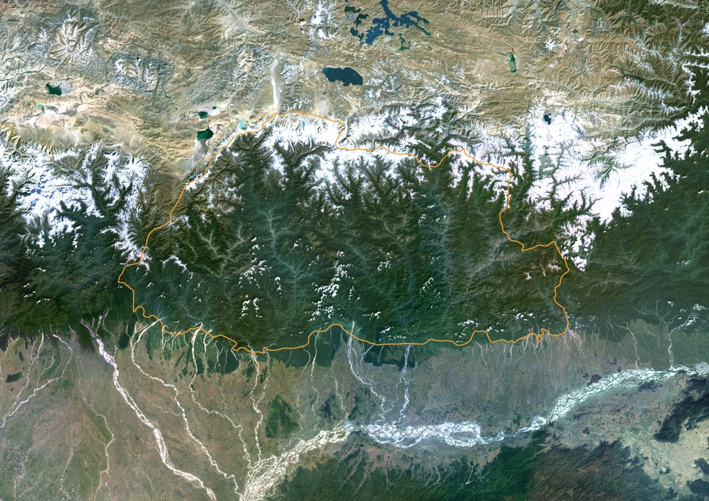 Bhutan, Asia, True Colour Satellite Image With Border. Satellite view of Bhutan (with border). This image was compiled from data acquired by LANDSAT 5 & 7 satellites. : Stock Photo