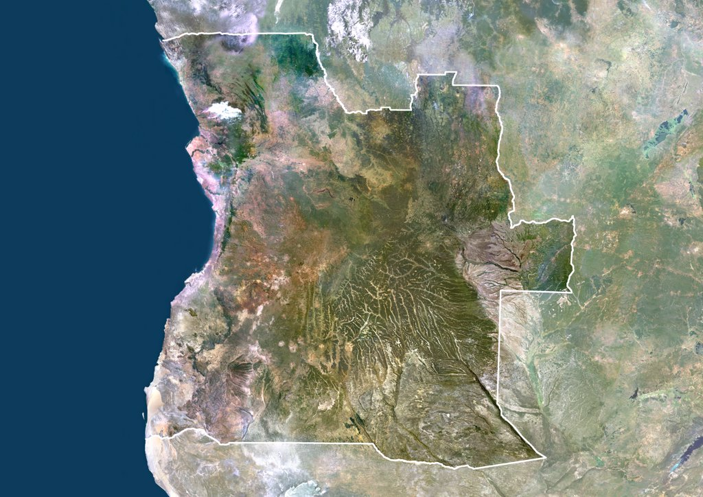 Angola, Africa, True Colour Satellite Image With Border And Mask. Satellite view of Angola (with border and mask). This image was compiled from data acquired by LANDSAT 5 & 7 satellites. : Stock Photo