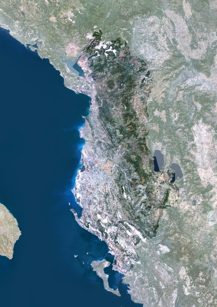 Albania, Europe, True Colour Satellite Image With Mask. Satellite view of Albania (with mask). This image was compiled from data acquired by LANDSAT 5 & 7 satellites. : Stock Photo
