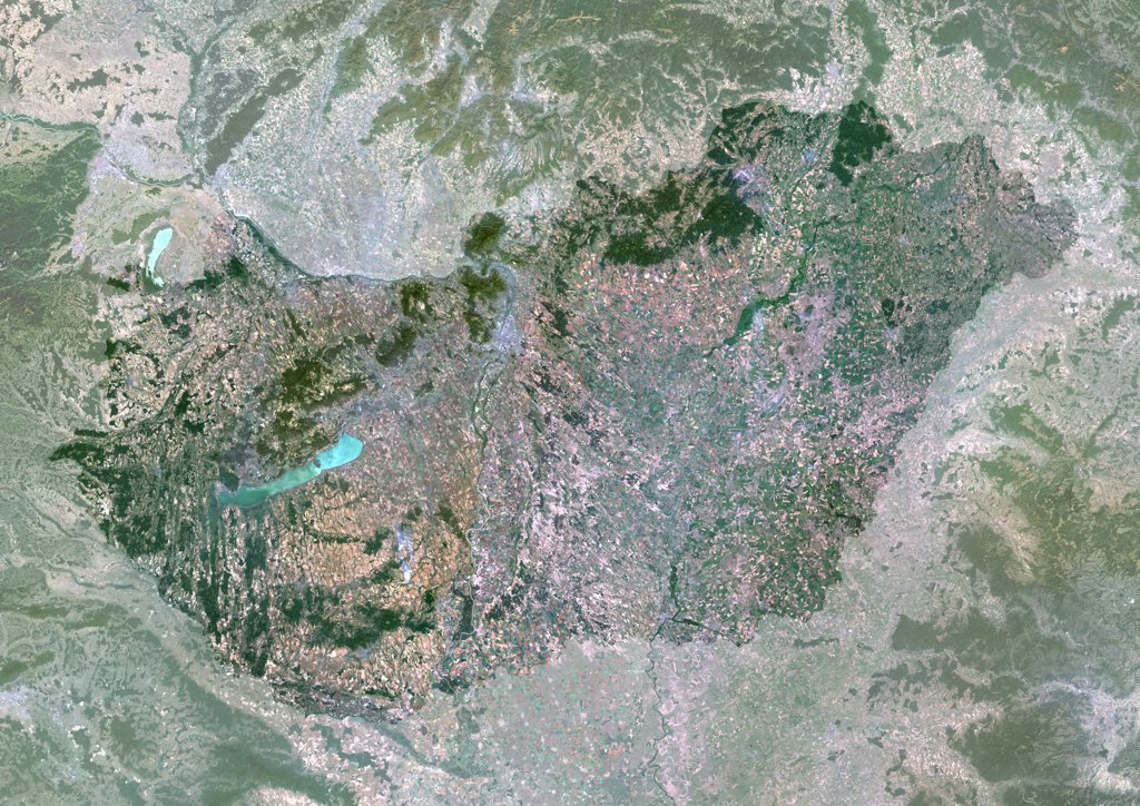 Hungary, Europe, True Colour Satellite Image With Mask. Satellite view of Hungary (with mask). This image was compiled from data acquired by LANDSAT 5 & 7 satellites. : Stock Photo