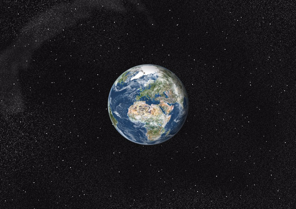 Globe Centred On Europe And Africa, True Colour Satellite Image. True colour satellite image of the Earth centred on Europe and Africa with cloud coverage. This image in orthographic projection was compiled from data acquired by LANDSAT 5 & 7 satellites. : Stock Photo