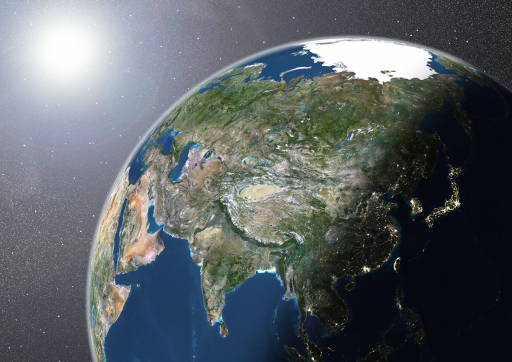 Globe Showing Asia, True Colour Satellite Image. True colour satellite image of the Earth showing Asia, half in shadow, and the sun. This image in orthographic projection was compiled from data acquired by LANDSAT 5 & 7 satellites. : Stock Photo