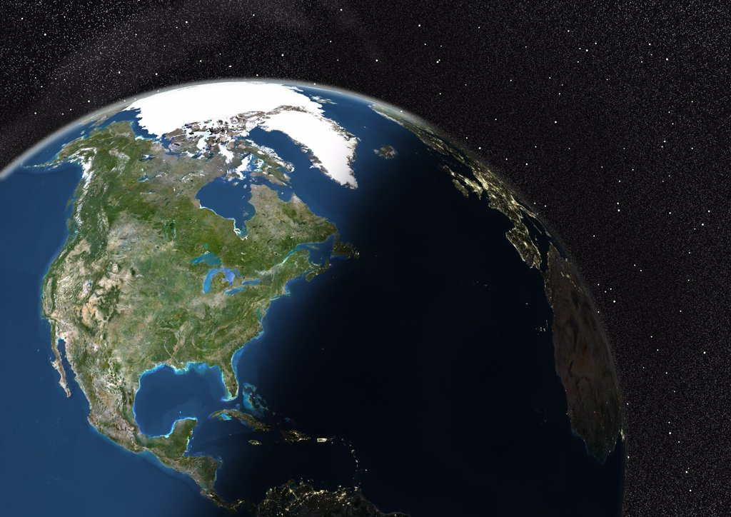 Stock Photo: 1899-35645 Globe Showing Northern America, True Colour Satellite Image. True colour satellite image of the Earth showing Northern America, half in shadow. This image in orthographic projection was compiled from data acquired by LANDSAT 5 & 7 satellites.