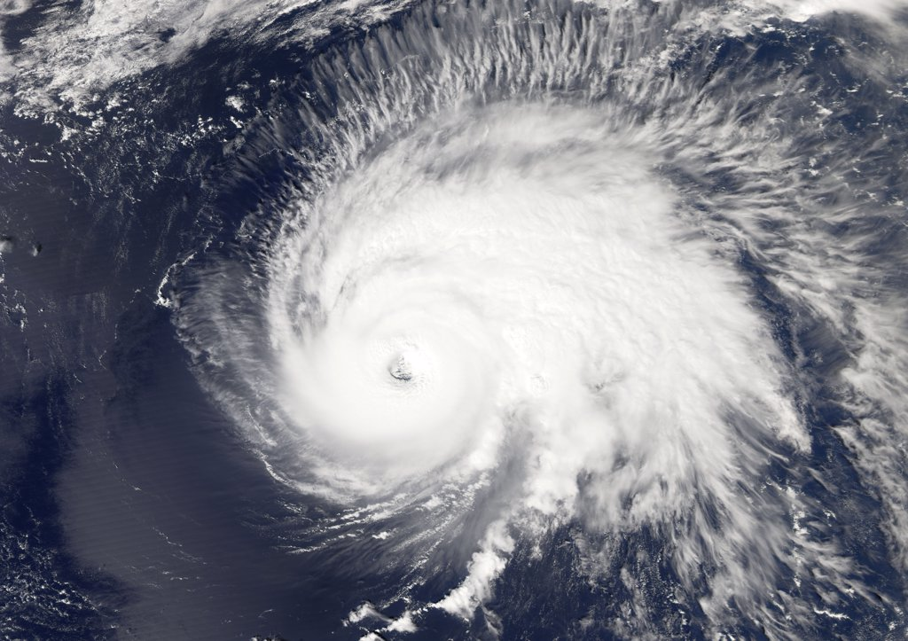 Hurricane Gordon, Atlantic Ocean, In 2006, True Colour Satellite Image. Hurricane Gordon on 14 September 2006 over the Atlantic ocean. True-colour satellite image using MODIS data. : Stock Photo