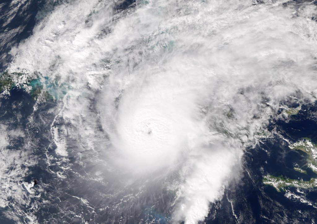 Hurricane Paloma, Carribbean Sea, In 2008, True Colour Satellite Image. Hurricane Paloma on 8 November 2008 approaching Cuba in the Carribean sea. Haiti is on the right of the image and the Yucatan Peninsula (Mexico) on the left. True-colour satellite image using MODIS data. : Stock Photo