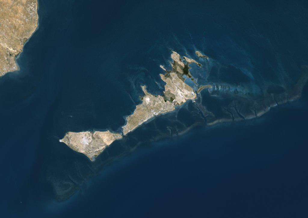Stock Photo: 1899-35765 Kerkennah Islands, Tunisia, True Colour Satellite Image. True colour satellite image of Kerkennah Islands, a group of islands lying off the East coast of Tunisia in the Gulf of Gabes. Image taken on 21 March 2001 using LANDSAT 7 data.