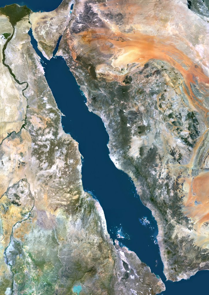 Stock Photo: 1899-35830 Red Sea, Middle East, True Colour Satellite Image. True colour satellite image of the Red Sea, a seawater inlet of the Indian Ocean, lying between Africa and Asia. The connection to the ocean is in the south through the Gulf of Aden. In the north, there is the Gulf of Aqaba and the Gulf of Suez, leading to the Suez Canal. Bordering countries are Egypt, Israel, Jordan, Saudi Arabia, Yemen, Djibouti, Eritrea and Sudan. Composite image using LANDSAT 5 data.