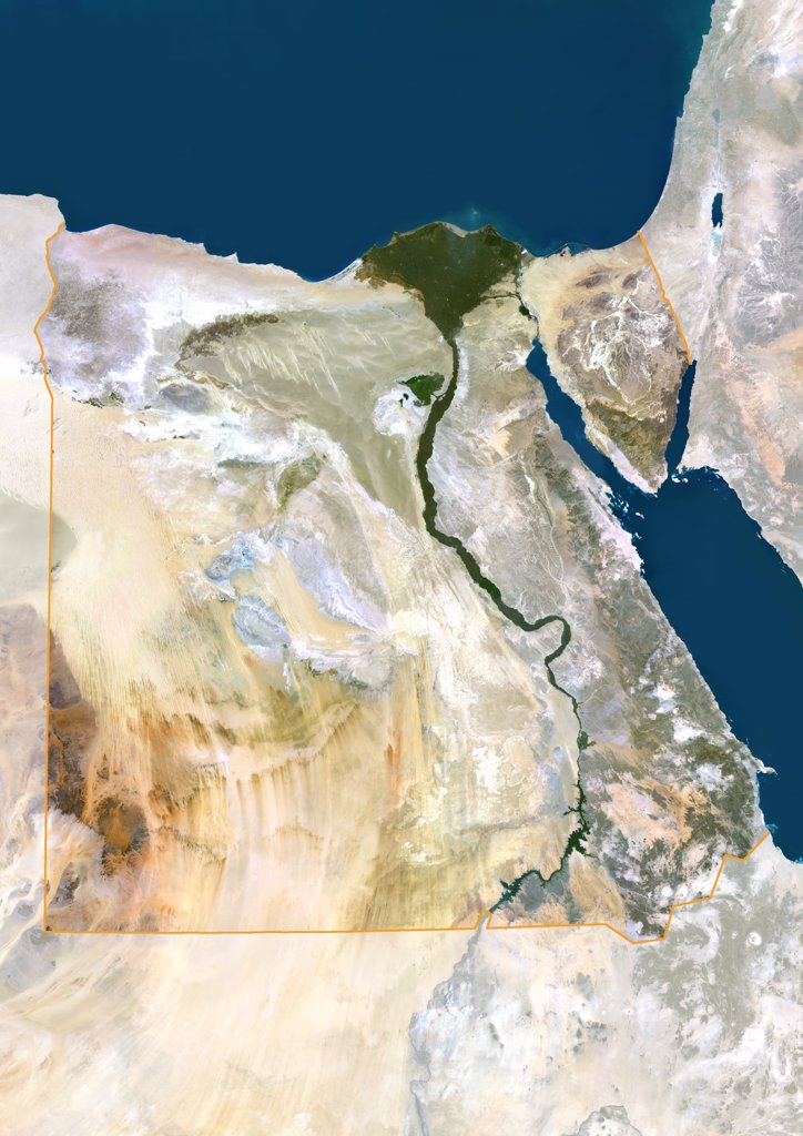 Stock Photo: 1899-35878 Egypt, True Colour Satellite Image With Mask And Border. Egypt, true colour satellite image with mask and border. North is at top. In the center of the image is the Nile Delta, its lush vegetation following the path of the river. To the east of the Nile is the Gulf of Suez, which runs down the western side of the Sinai Peninsula. This image was compiled from data acquired by LANDSAT 5 & 7 satellites.