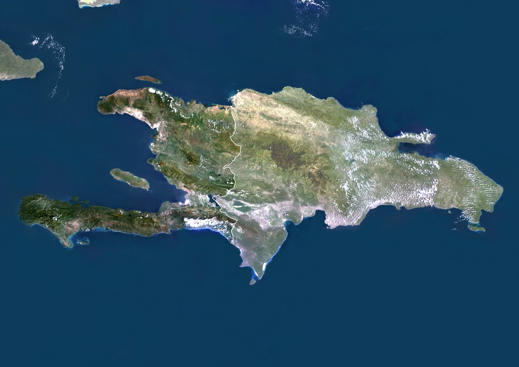 Stock Photo: 1899-35892 Haiti And Dominican Republic (With Mask And Border), True Colour Satellite Image. Haiti and Dominican Republic (with mask and border), true colour satellite image. This image was compiled from data acquired by LANDSAT 5 & 7 satellites.