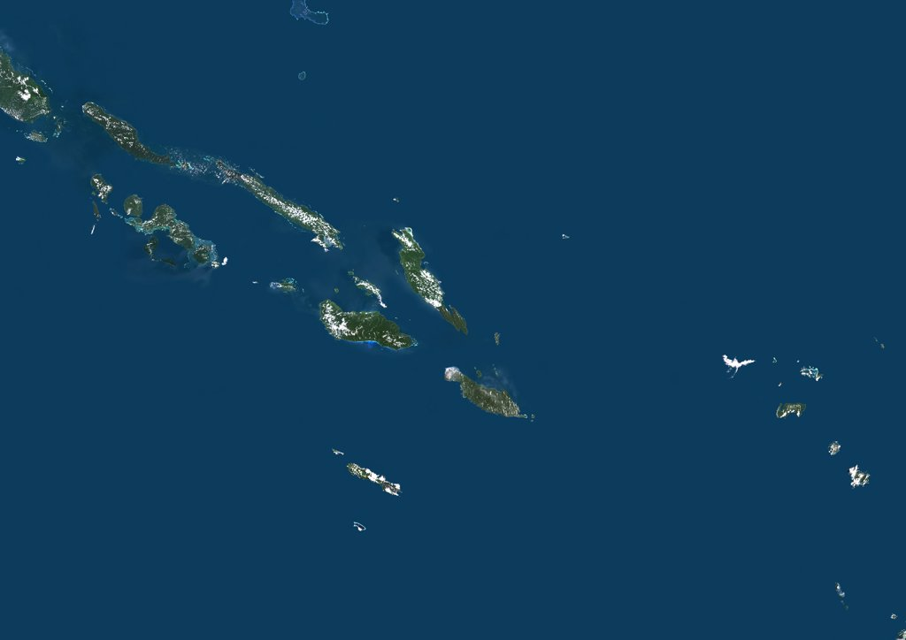 Stock Photo: 1899-35901 Solomon Islands, True Colour Satellite Image. Solomon Islands, true colour satellite image. This image was compiled from data acquired by LANDSAT 7 satellite.