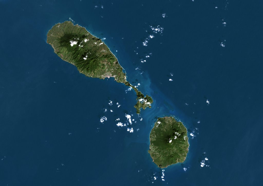 Stock Photo: 1899-35930 Saint Kits And Nevis, True Colour Satellite Image. Saint Kitts and Nevis, true colour satellite image. The main island (upper left) is Saint Kitts, with the capital city Basseterre located on its south coast. The smaller island of Nevis(bottom right) lies about 3 km southeast of Saint Kitts. This image was taken on 8 December 1999, by the LANDSAT 7 satellite.