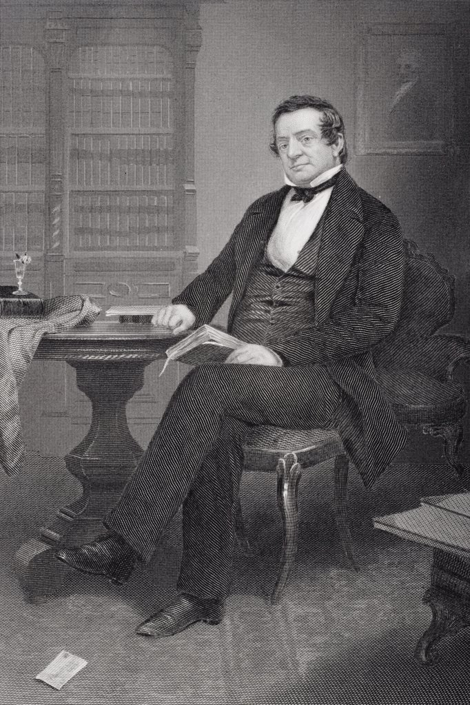 Stock Photo: 1899-37606 Washington Irving 1783-1859. American author known as First American Man of Letters. From painting by Alonzo Chappel