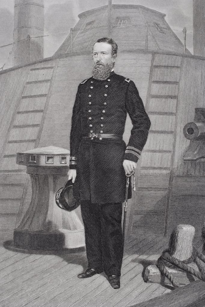 David Dixon Porter 1813 1891. American admiral in Union navy during Civil War. From painting by Alonzo Chappel : Stock Photo