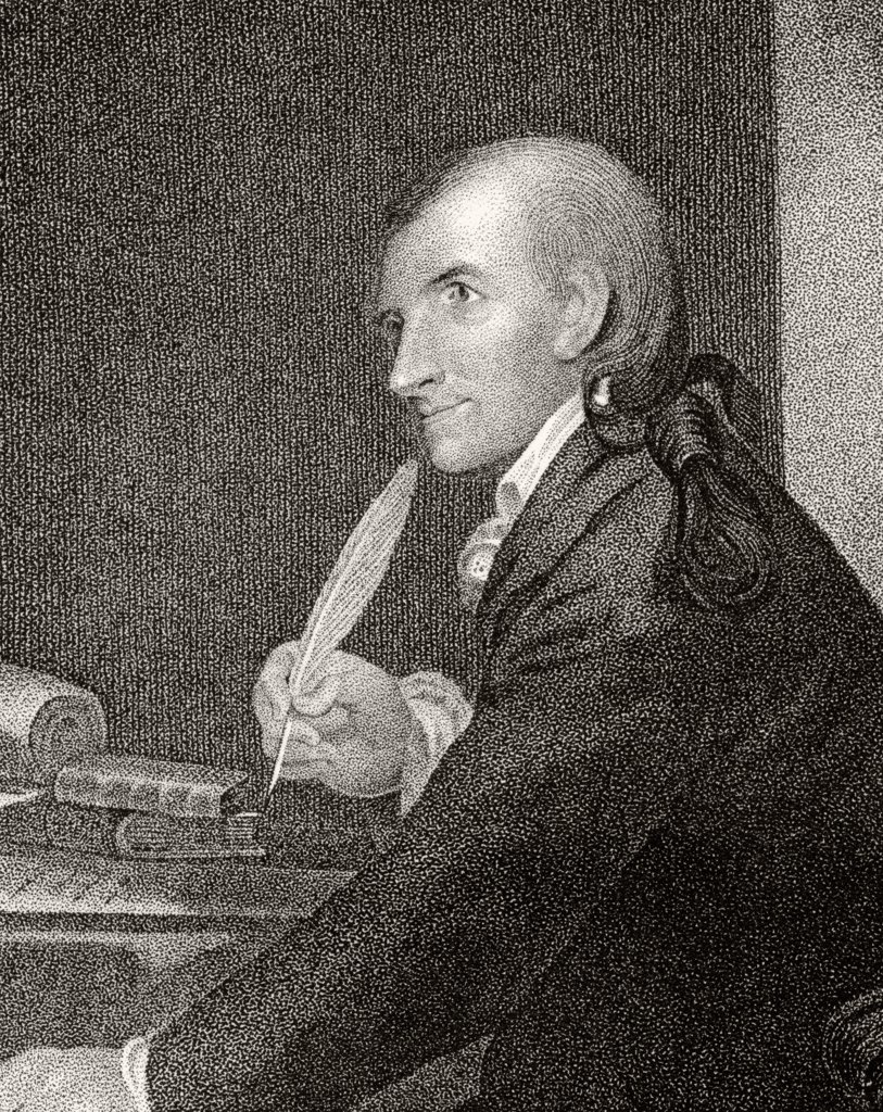 Francis Hopkinson 1737 to 1791 American author statesman and Founding Father A signatory of Declaration of Independence 19th century engraving by J.B. Longacre and J.H. Nesmith from a picture by Pine : Stock Photo