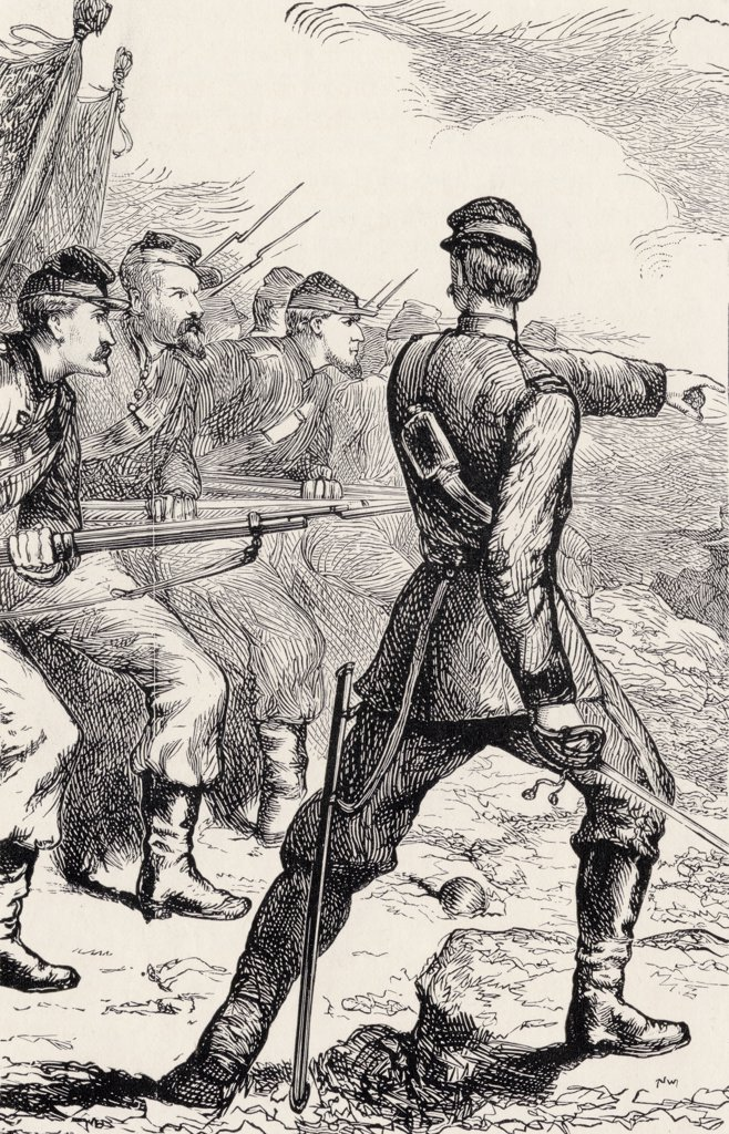 Officer leading attack in American Civil War from From Log Cabin to White House by William M. Thayer published by Hodder and Stoughton 1905 : Stock Photo