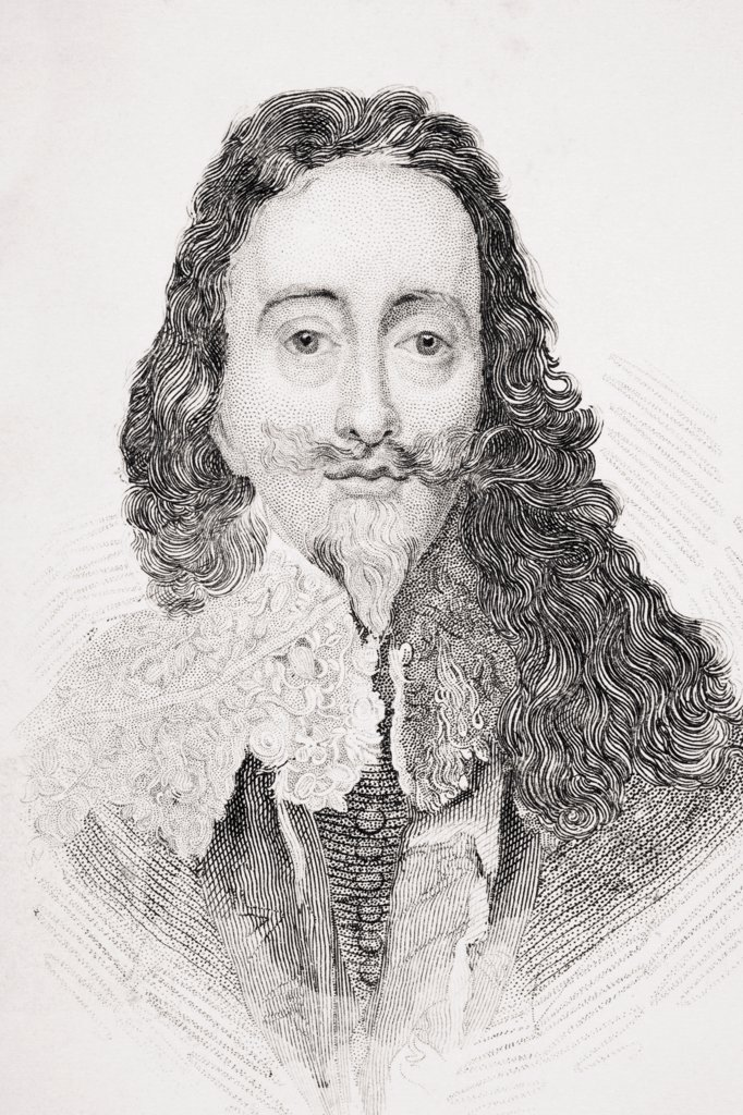 Stock Photo: 1899-37975 Charles I 1600-1649 King of England Scotland Wales and Ireland From Old England's Worthies by Lord Brougham and others published London circa 1880's