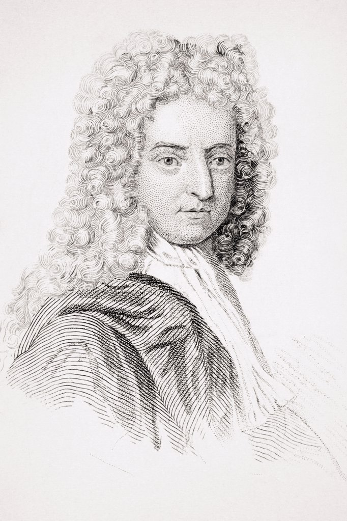 Stock Photo: 1899-38007 Daniel Defoe 1660 - 1731 English novelist and journalist From Old England's Worthies by Lord Brougham and others published London circa 1880's