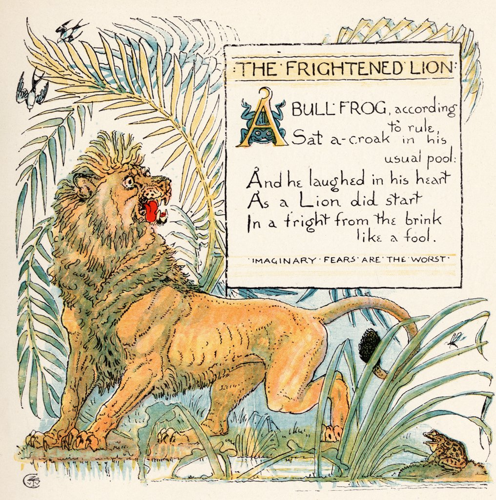 The Frightened Lion From the book Babys Own Aesop by Walter Crane published c1920 : Stock Photo