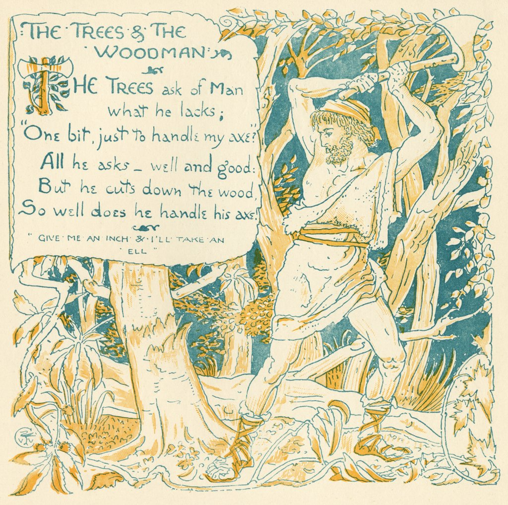 The Trees and The Woodman From the book Babys Own Aesop by Walter Crane published c1920 : Stock Photo