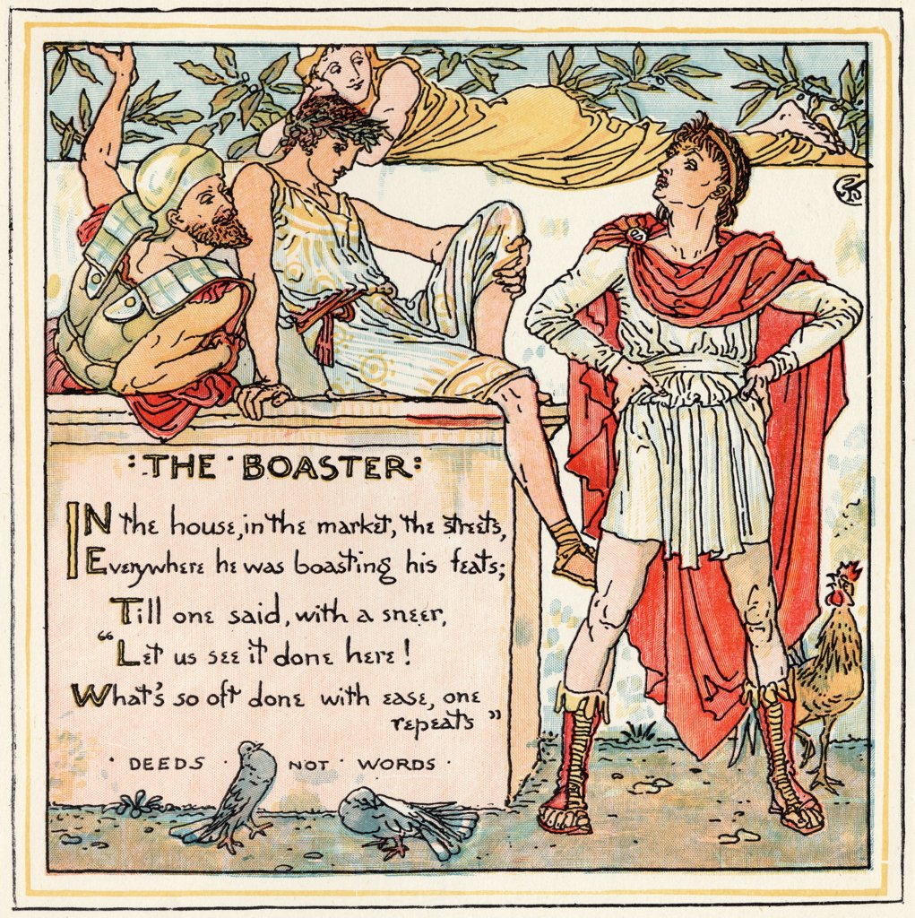 Stock Photo: 1899-38055 The Boaster From the book Babys Own Aesop by Walter Crane published c1920