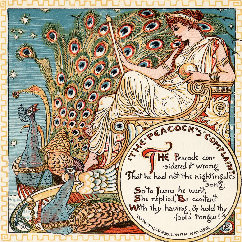Stock Photo: 1899-38056 The Peacocks Complaint, From the book Babys Own Aesop by Walter Crane published c1920