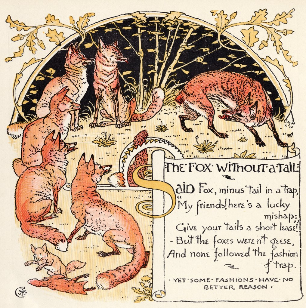 The Fox Without a Tale From the book Babys Own Aesop by Walter Crane published c1920 : Stock Photo