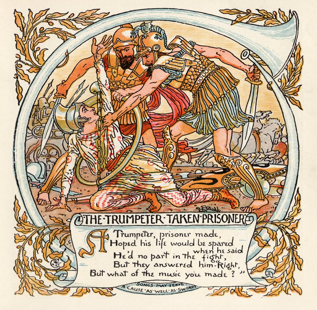 The Trumpeter Taken Prisoner From the book Babys Own Aesop by Walter Crane published c1920 : Stock Photo